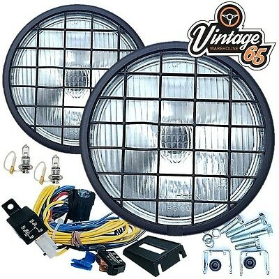 "Land Rover 6"" 55w Halogen Fog Driving Lights Stoneguards Grills Wiring Kit Pair"