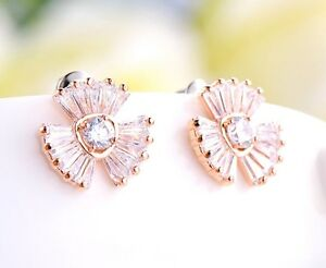 18K-Rose-Gold-GF-Lady-14mm-Crystal-Flower-Fashion-Stud-Earrings-Stunning-Gift
