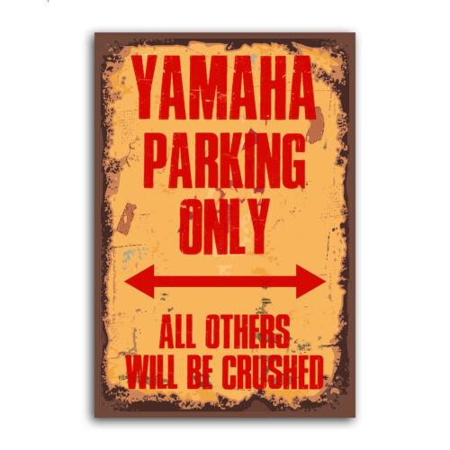 Yamaha Parking Only Funny vintage en métal Aluminium Panneau de porte portail garage plaque