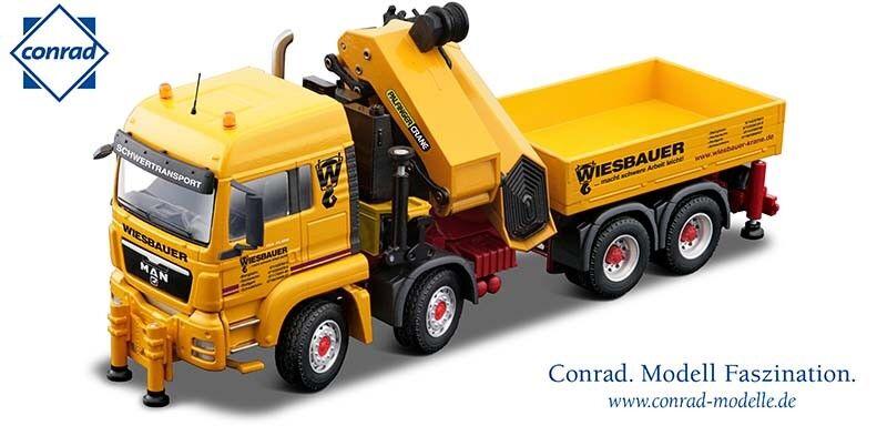 Garantía 100% de ajuste Nuevo Conrad Conrad Conrad 71193 Man 4-Axle camión con grúa de Cochega Grúa Palfinger-wiesbauer 1 50 Menta en caja  precio mas barato