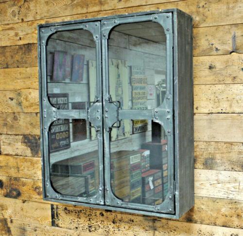 Industrial Metal Glass Wall Cabinet Storage 2 Door Shelf Display Shelving Unit