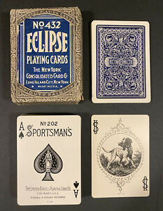 Sportsman's 202 US Playing Cards Eclipse Box Antique Vintage USPC Bicycle Export