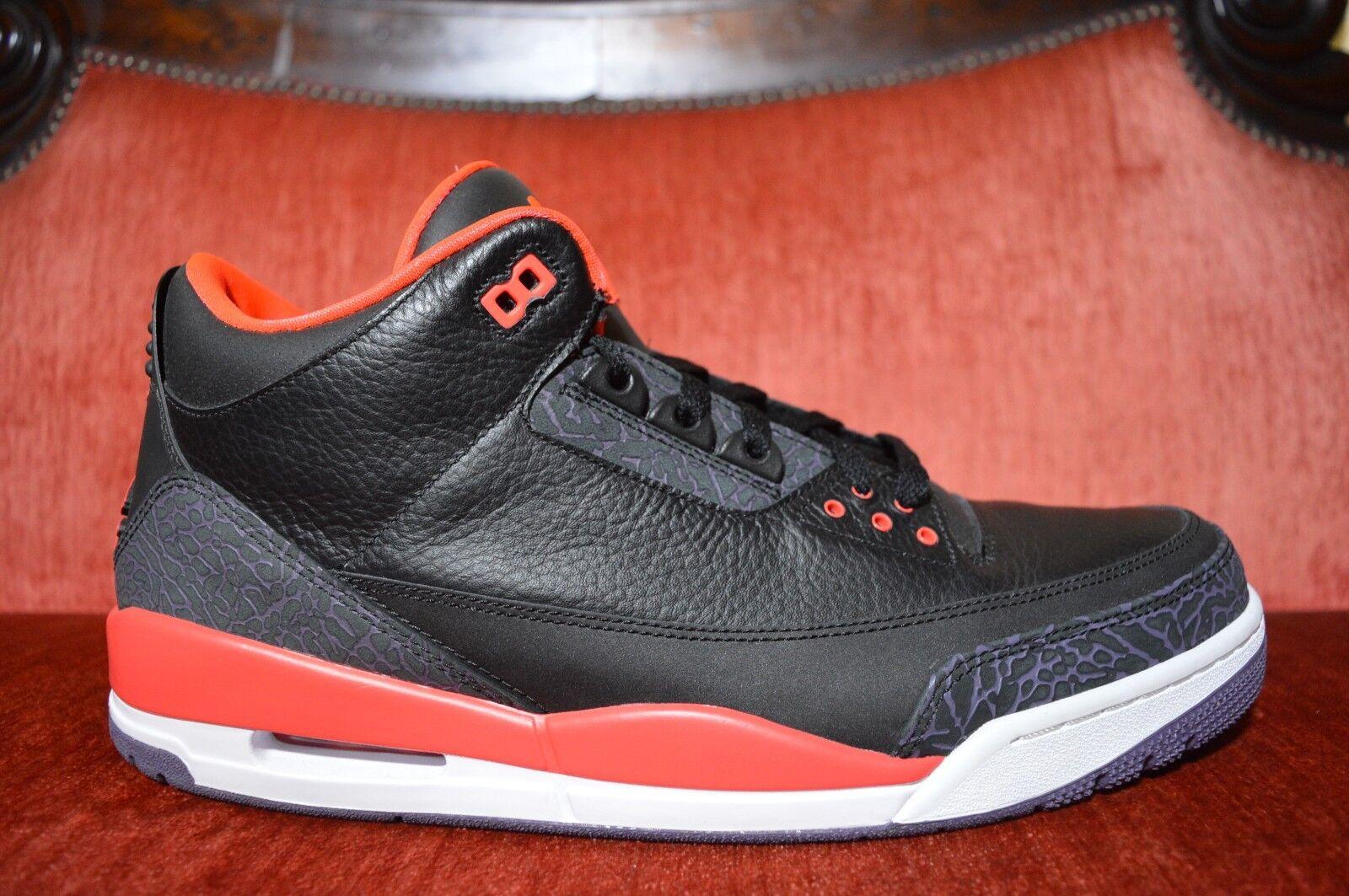VNDS Nike AIR JORDAN 3 RETRO BRIGHT CRIMSON BLACK 3M REFLECTIVE III 136064 005