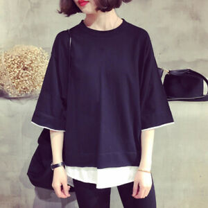 Blouse-Tee-Women-Girl-Korean-Fashion-Casual-Short-Sleeve-T-shirt-Loose-Tops
