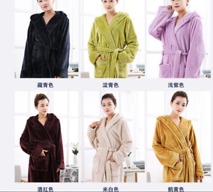 Winter Flannel Pajamas Hooded Bathrobe Towelling Bath robe Dressing Gown Unisex