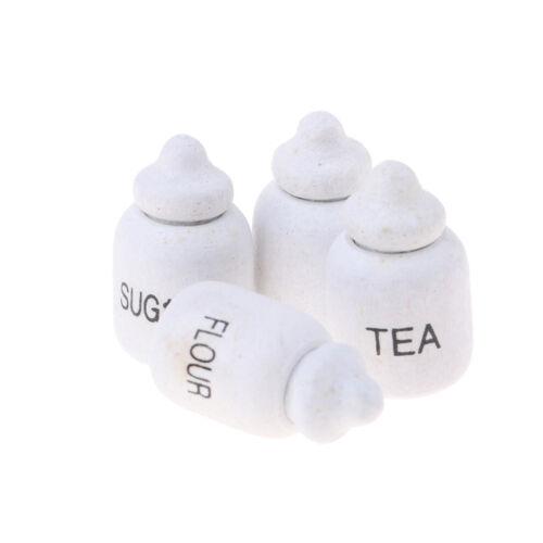 1/12 Dollhouse Miniature Wood Condiment Storage Jars Flavoring Bottles Decor