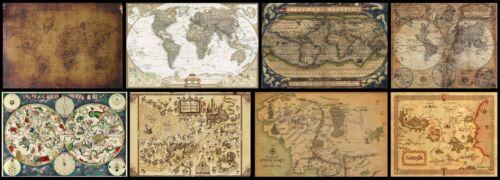 Antike Schatz Weltkarte Vintage Seekarte Zauber Bilddrücke alte Welt Antique Map