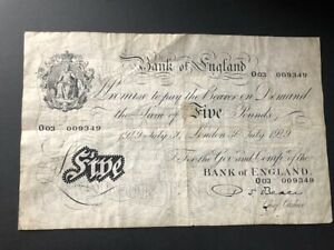 White Fiver - Five Pounds Note. 30th July 1949 - Beale - Good Condition