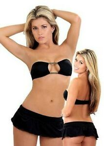 DANCEWEAR-BANDEAU-TOP-SKIRT-SET-BLACK-SIZE-L-XL