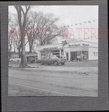 Vintage Photo 1961 Pontiac Car at Roadside Mobil Gas Service Station 724678