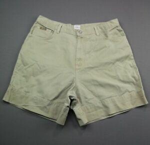 Women's Calvin Klein Khaki Shorts Beige Cuff Size 15/16 (34x6) Zipper Fly