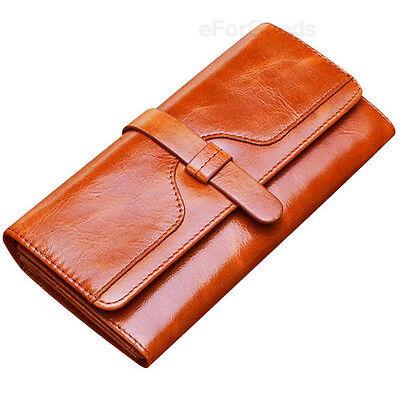 New Women Fashion Top Genuine Leather Wallet Clutch Purse Lady Long Handbag Bag