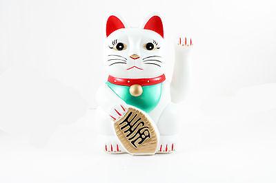 """8"""" Swinging Arm Fortune Cat Maneki Neko - Battery Powered Lucky Cat."""