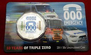 2011-Australia-000-Emergency-Services-50c-Coloured-UNC-Coin-on-Card-RARE