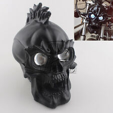Black Motorcycle Skull Skeleton headlight with LIGHT IN EYES Resin Custom Lamp