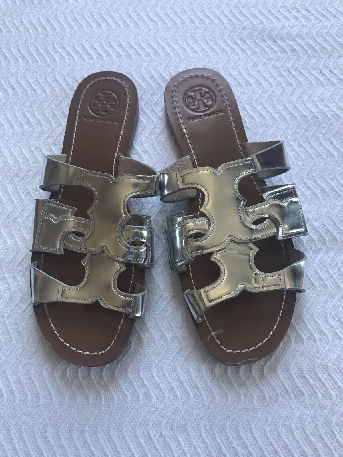 Tory Burch Silver Metallic T Sandale Größe 6