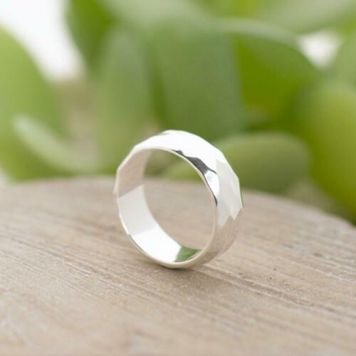 Sterling Silver Hammered Finish D Shape Wedding Band