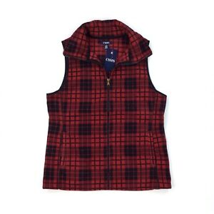 Chaps-Women-039-s-Red-Black-Plaid-Sleeveless-Full-Zip-Vest-Size-L-NWT