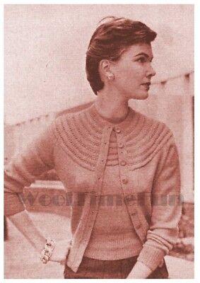 34-36 Inch Bust. Knitting Pattern Ladys 1940s Round Yoke Jumper /& Cardigan