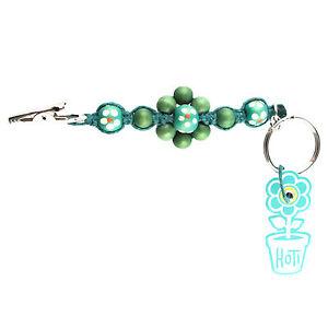 HOTI Hemp Handmade Green Flower Power Beaded Keychain Roach Clip 420 ... e62dc1d2ba