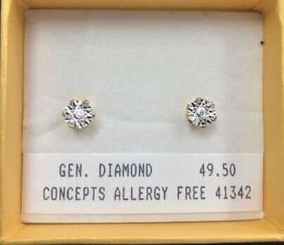 Diamant Boucles D/'oreilles Allergie Gratuit
