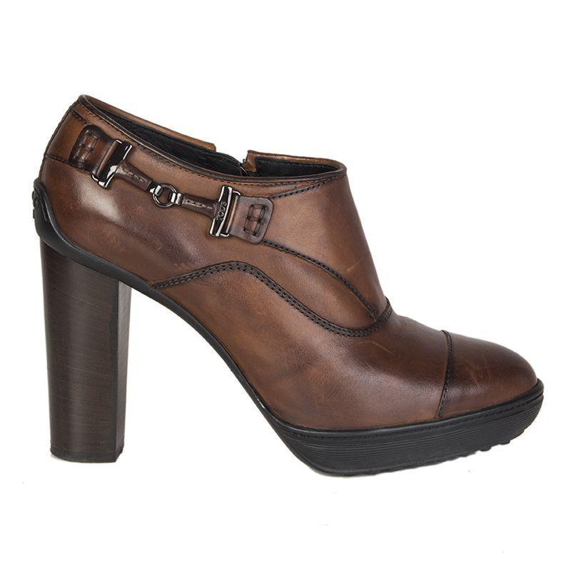 56077 Auth Tod'S Cuero Marrón Oscuro Plataforma botas al Tobillo Zapatos 37