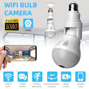 HD 1080P Hidden Wifi IP Camera Light Bulb Home Security Lamp Cam 360° Panoramic