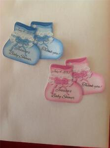 Baby Shower Favor Tags Pink Or Blue Baby Booties Personalized Ebay