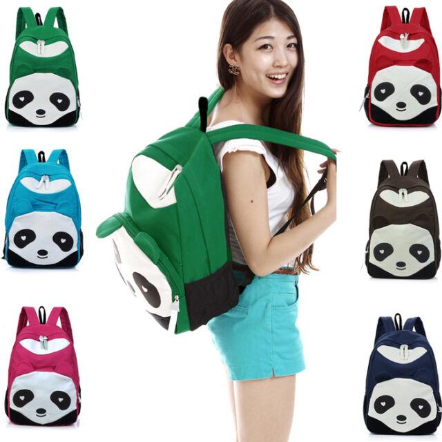 Rucksack Kids Girl Boy Student Panda Canvas School Book Campus Bag Backpack K