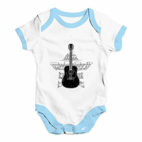 Twisted Envy Guitar Music Notes Star Baby Unisex Funny Baby Grow Bodysuit