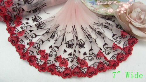 1Y Embroidered Floral Tulle Lace Trim~Pink//Blue//Black//Red//Beige~Clearance SALE~
