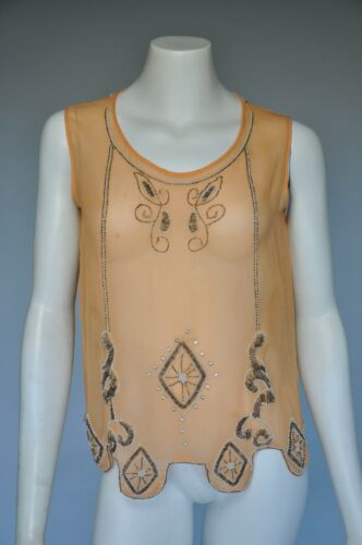 VTG 1920s 20s Sheer Nude Peach Beaded Art Deco Blo