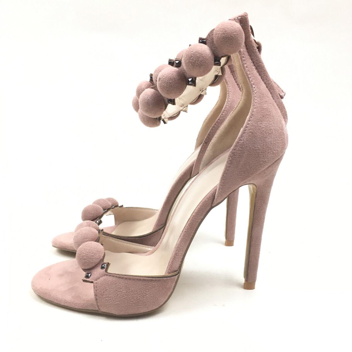 mujer Peep Toe High Heel Sandals Ankle Sphere & & & Gunmetal Pyramid Stud zapatos  online al mejor precio