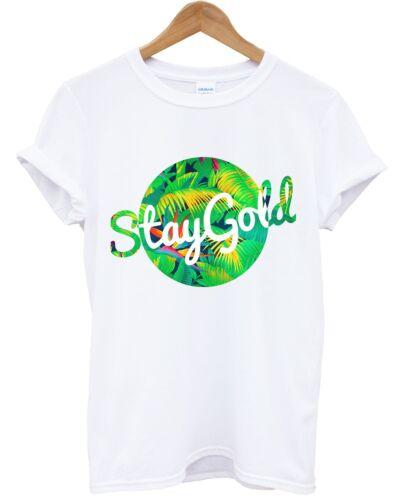 Séjour gold tropical t shirt été vacances palmier plage Hipster Swag top frais