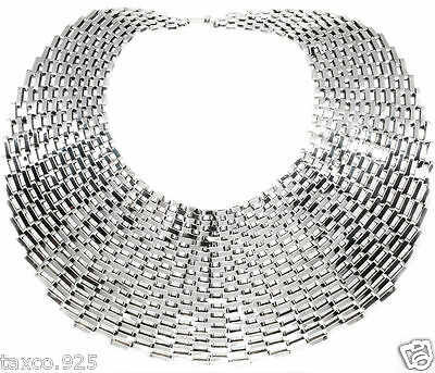 BIG BOLD TAXCO MEXICAN 925 STERLING SILVER WIDE HEAVY CHAIN LINK NECKLACE MEXICO