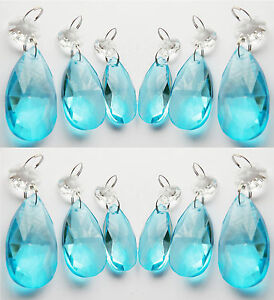 CUT GLASS CHANDELIER CRYSTALS AQUA OVAL DROPS TURQUOISE BEADS - Chandelier crystals crafts