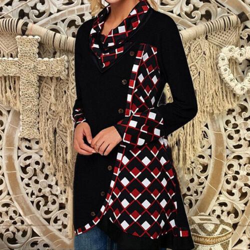 Womens Vintage Plaid Long Sleeve Cowl Neck Sweatshirt Jumper Tunic Longline Tops