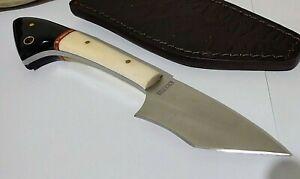 WHITE BONE BUFFALO TANTO HUNTING BOWIE KNIFE W/ SHEATH CASE !!!