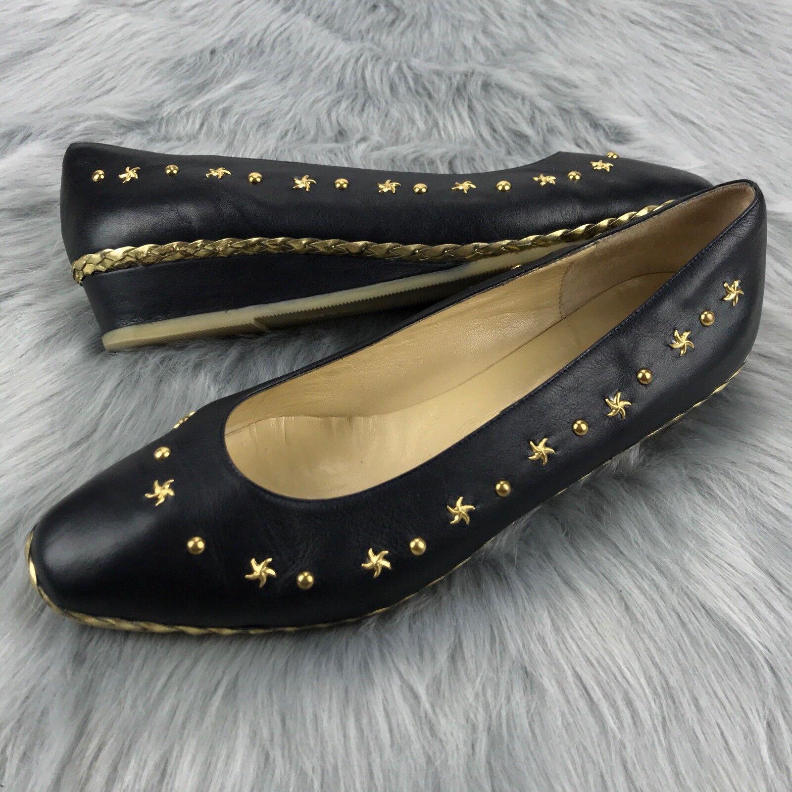 ordina ora i prezzi più bassi BALLY SAKKANE donna 9 9 9 39.5 oro Studs Dressy nero Patent Leather Loafers Flats  al prezzo più basso