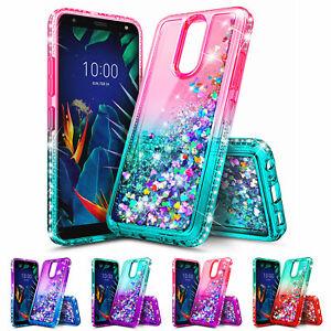 For-LG-K40-Liquid-Glitter-Bling-Phone-Cover-Case-3D-Tempered-Glass-Protector