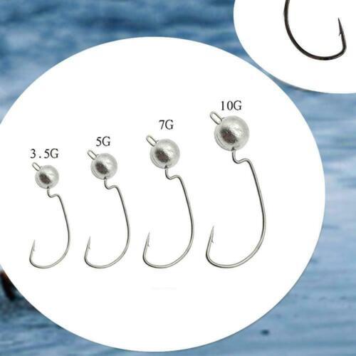 10X freiliegender Bleikopf mit Widerhaken weicher Jigging-Angelhake Köder D0X6