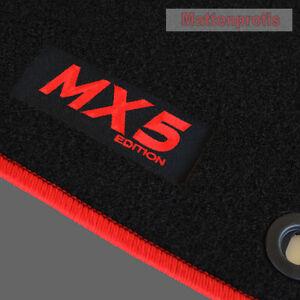 MP-Velours-Fussmatten-Logo-rot-fuer-Mazda-MX-5-MX5-II-NB-ab-Bj-03-1998-2005