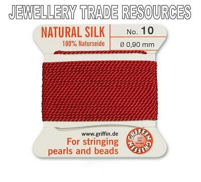 RED SILK STRING THREAD 0.60mm FOR STRINGING PEARLS /& BEADS GRIFFIN SIZE 4