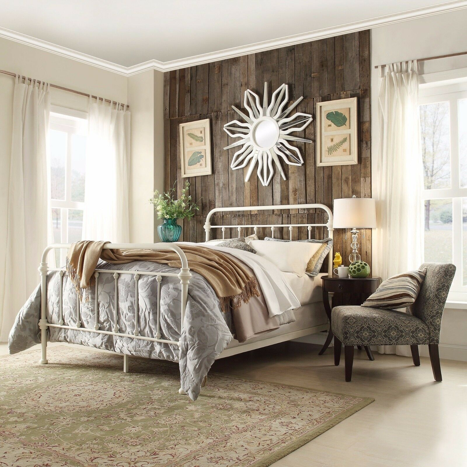 White Iron Trees Queen Bed Frame