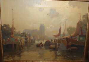 JAN-KNIKKER-JR-OIL-PAINTING-LISTED-DUTCH-ARTIST-RIVER-CANAL-VIEW