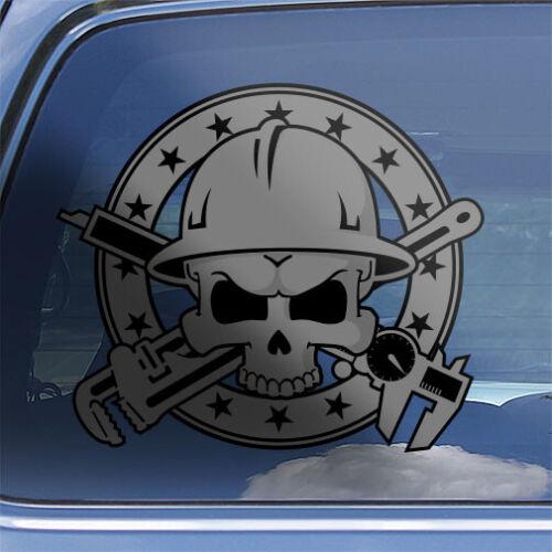 millwright tradesman hardhat sticker Millwright Skull Crossbones Decal CR