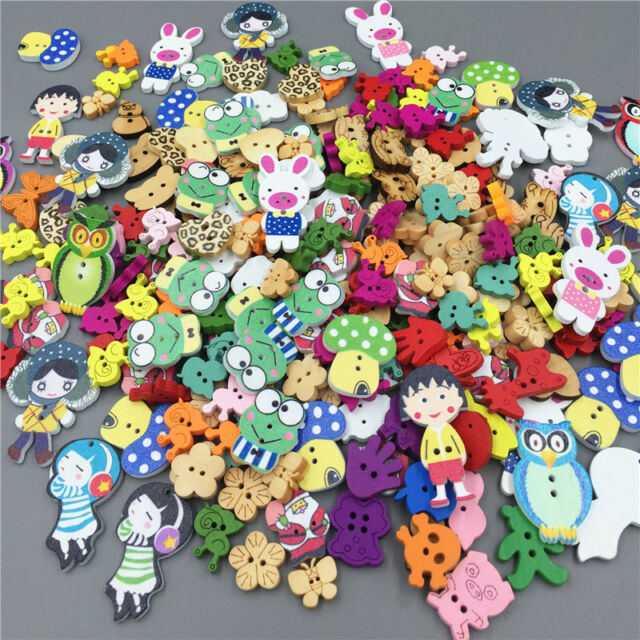 40 Mix wooden Flower /& Butterfly Buttons For Craft Cardmaking Embellishments