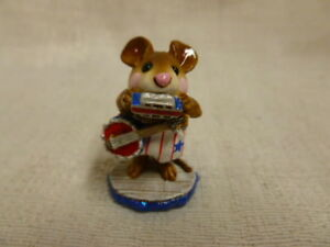 Wee Forest Folk M-196a ONE MOUSE BAND Red Pants RETIRED Mint