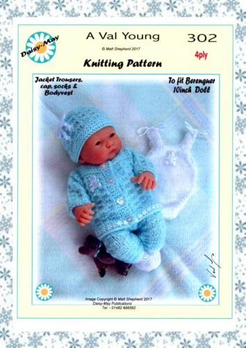 """VAL YOUNG DOLLS KNITTING PATTERN no 302 to fit berenguer 8/"""" or similar  doll."""