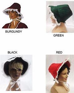 Dickens Style Velvet Victorian Bonnet Caroler Hat Christmas Costume Accessory